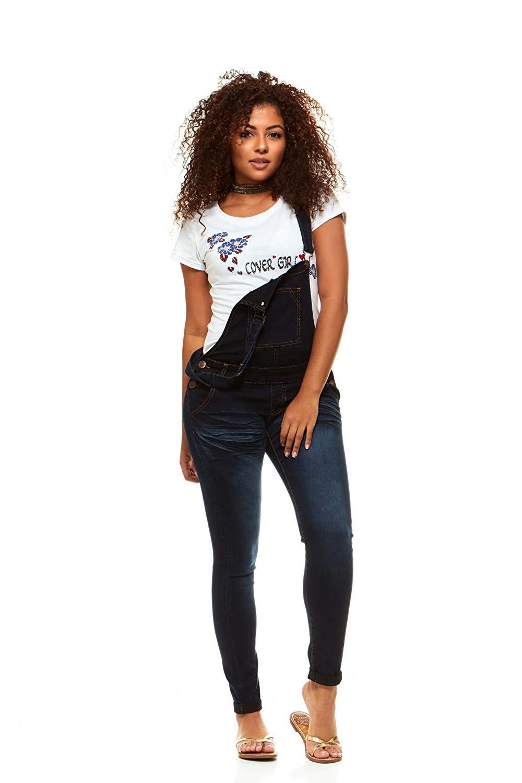Cover Girl Denim Overall Jeans for Women Bib Strap Skinny Fit Junior Size 15 Varsity Blue Wash