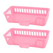Home Plastic Hollow Out Design Sponge Sundries Storage Holder Basket Pink 2pcs
