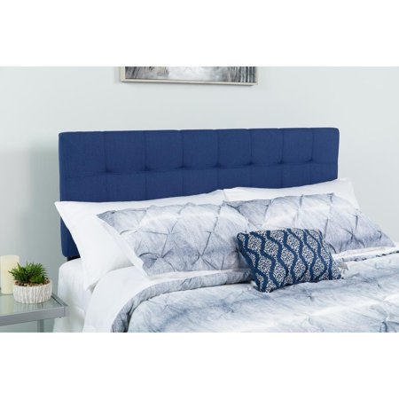 Quilted Tufted Upholstered Full Size Headboard in Navy Fabric ()