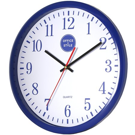 Analog Wall Clock with Anti-Scratch Plexi Glass Cover, Blue with White Easy-to-Read Numbers, Silent Quartz - by Office Style