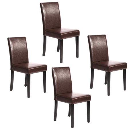 Set of 4 Brown Leather Contemporary Elegant Design Dining Chairs Home Room U42 ()