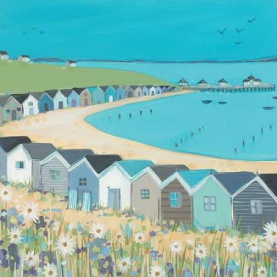 Beach Huts Poster Print by Janet Bell