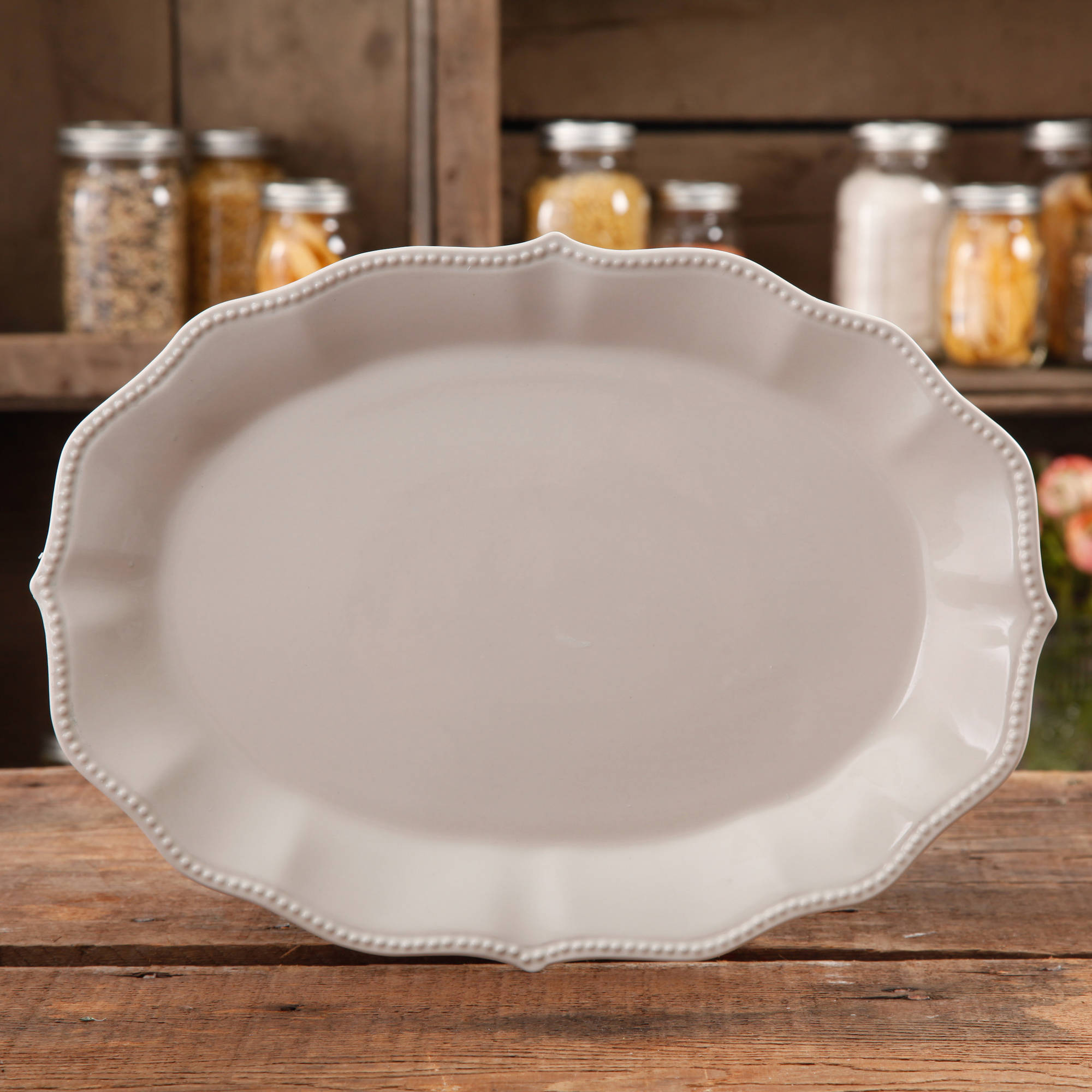 The Pioneer Woman Paige Linen Transparent Glaze Oval Platter