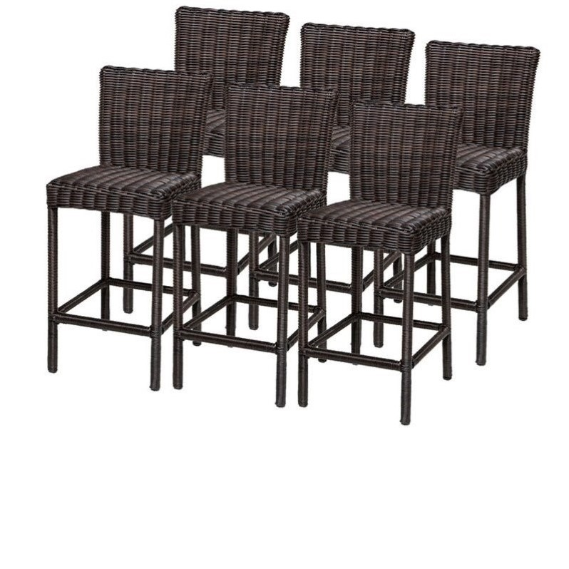Bowery Hill Outdoor Wicker Bar Stools in Chestnut Brown (Set of 6)