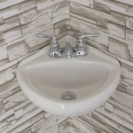 - Fine Fixtures Ceramic 15'' Corner Bathroom Sink