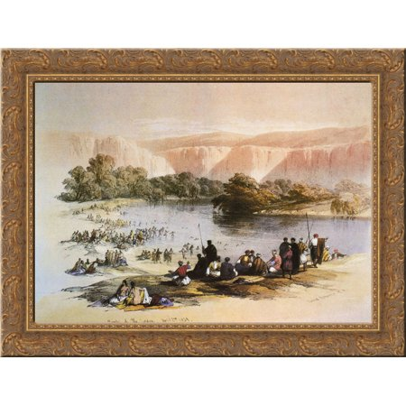 FrameToWall - The Immersion of the Pilgrims 24x18 Gold Ornate Wood Framed Canvas Art by David Roberts (Immersion Whale)