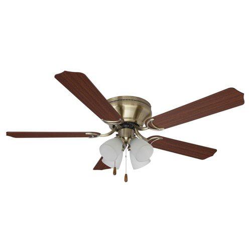 Mainstays 52 Quot Ceiling Fan With Light Kit Antique Brass Brc52ab5c4w Walmart Com