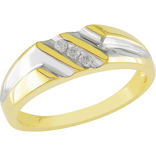 Men's 1/10 Carat T.W. Diamond Ring in White and Yellow Silver