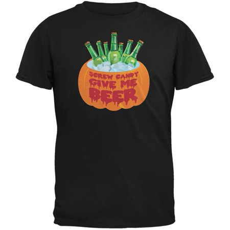 Halloween Screw Candy Give Me Beer Black Adult T-Shirt