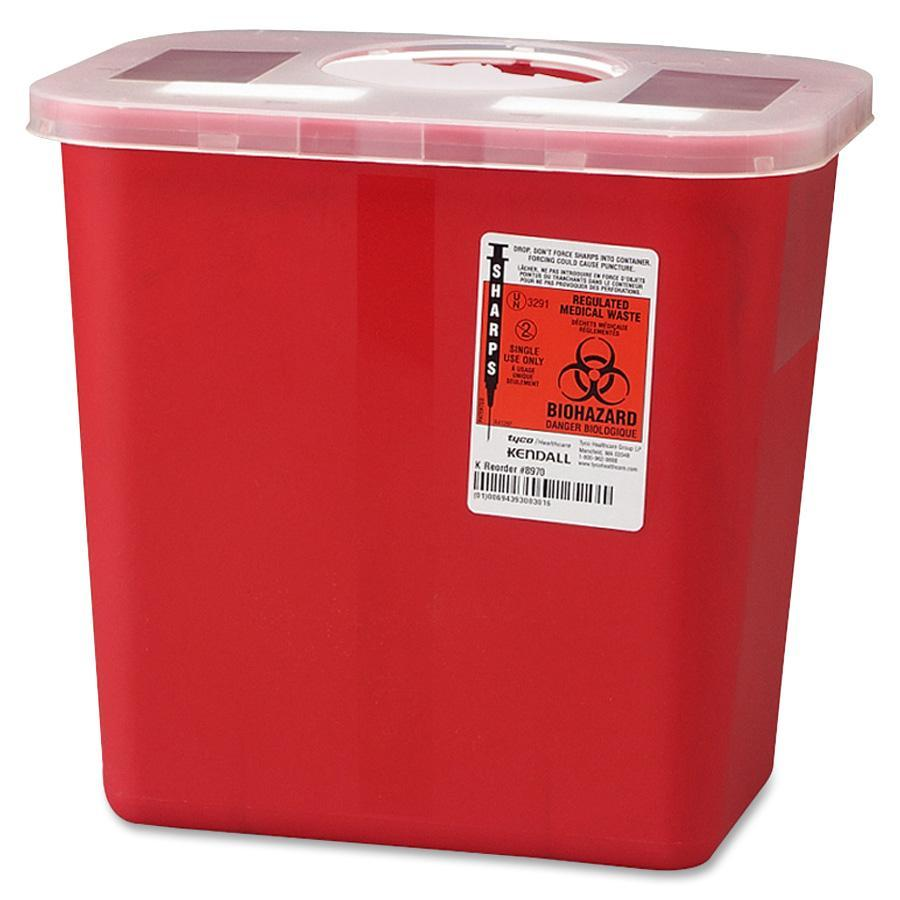 Covidien, CVDSRRO100970, Sharps 2 Gallon Container with Rotor Lid, 1, Red