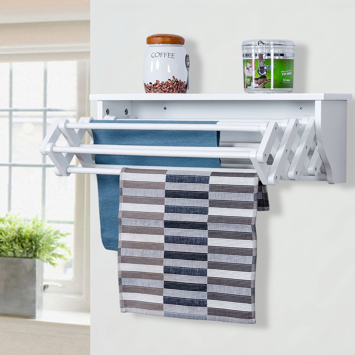 Costway Wall Mounted Drying Rack Folding Clothes Towel Laundry Room