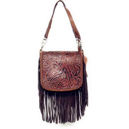 Handcrafted Leather Western Horse Floral Tooled Womens Fringe Clutch Crossbody