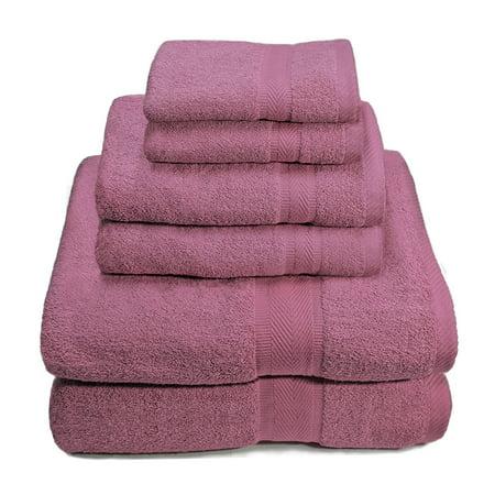 70246e4c3cd0 6 Piece Premium Egyptian Cotton Towel Set, Bath Towels, Hand Towels, Wash  Cloths - Purple - Walmart.com