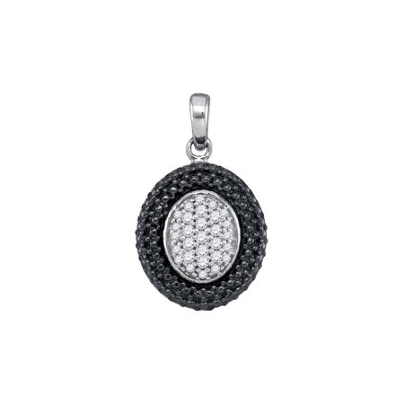 - Sterling Silver Womens Round Diamond Oval Black Rhodium Frame Cluster Pendant 1/5 Cttw