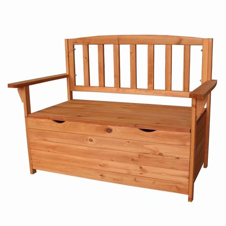 4 Feet Wooden Storage Bench with Arm and Back Garden Storage Bench Chest Indoor Shoe Cabinet Chair Wooden Shoe Cabinet