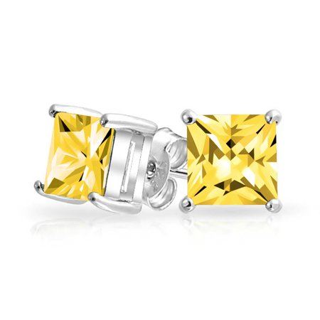 - 1 CTW Canary Yellow Square Stud Earrings Cubic Zirconia Princess Cut Simulated Topaz Basket Set CZ Sterling Silver 7mm