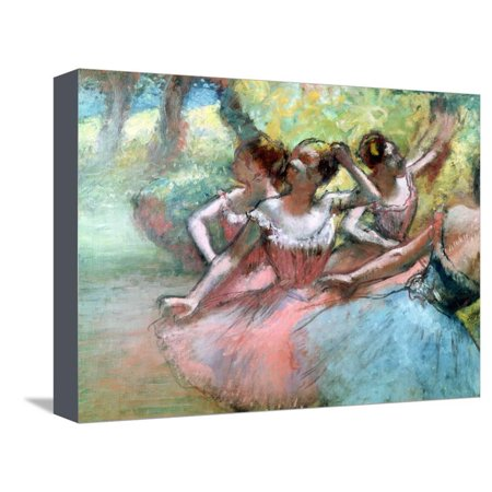 Four Ballerinas on the Stage Stretched Canvas Print Wall Art By Edgar Degas