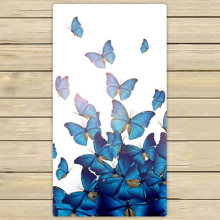 PHFZK Personalized Beautiful Blue Butterflies Art Print Design Hand Towel Bath Bathroom Shower Towels Beach Towel 30x56 inches