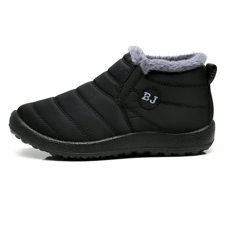 Mens Snow Boots Winter Anti-Slip Ankle Booties Waterproof Warm Fur Lined Shoes