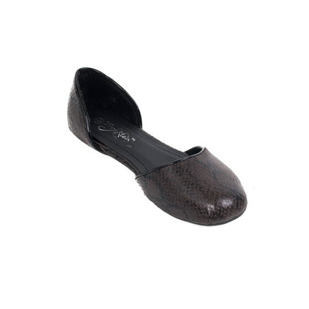 Women Ballerina Buckle Flats, PU Leather Work & Casual Shoes (Time Brown Leather)
