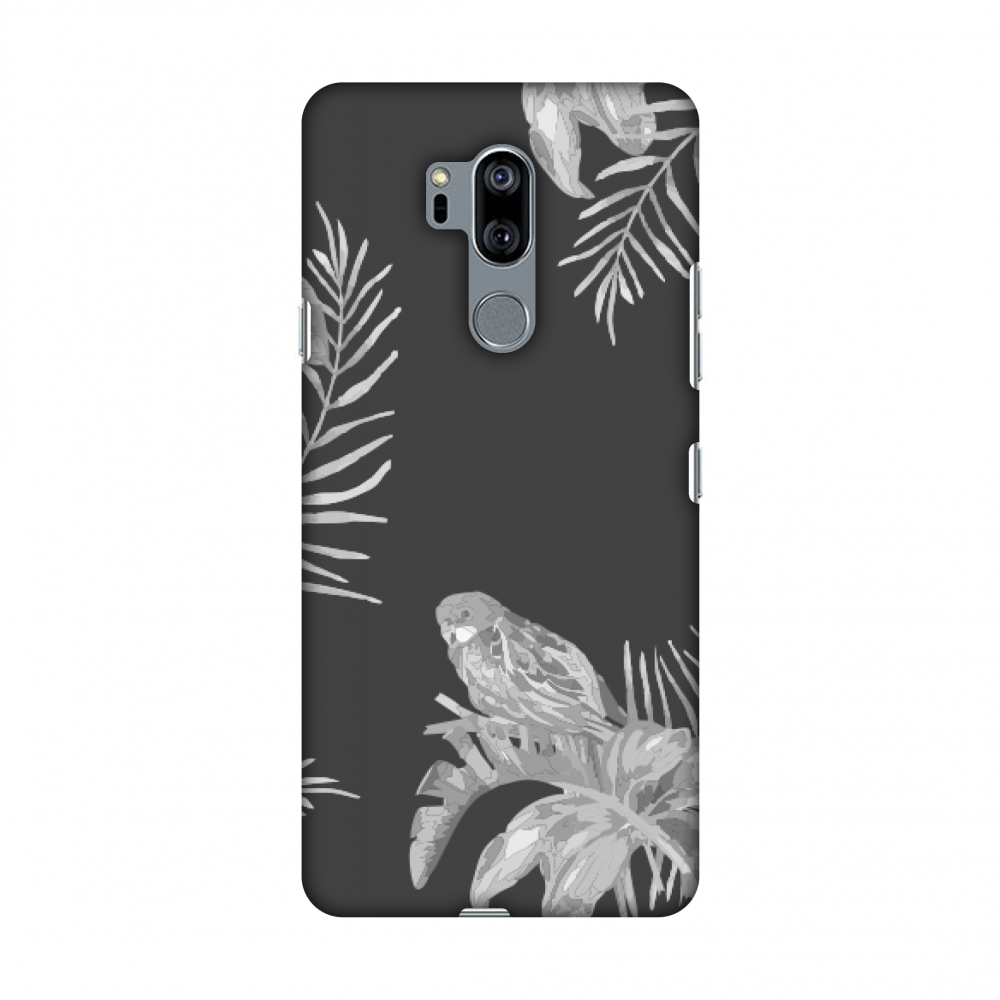 LG G7 Case, LG G7 ThinQ Case, Slim Fit Handcrafted Designer Printed Snap on Hard Shell Case Back Cover for LG G7 ThinQ - Elements Of Tropical - Grey