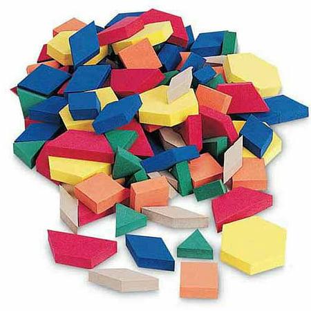School Smart Foam Pattern Blocks, Assorted Colors, (Foam Assorted Block)