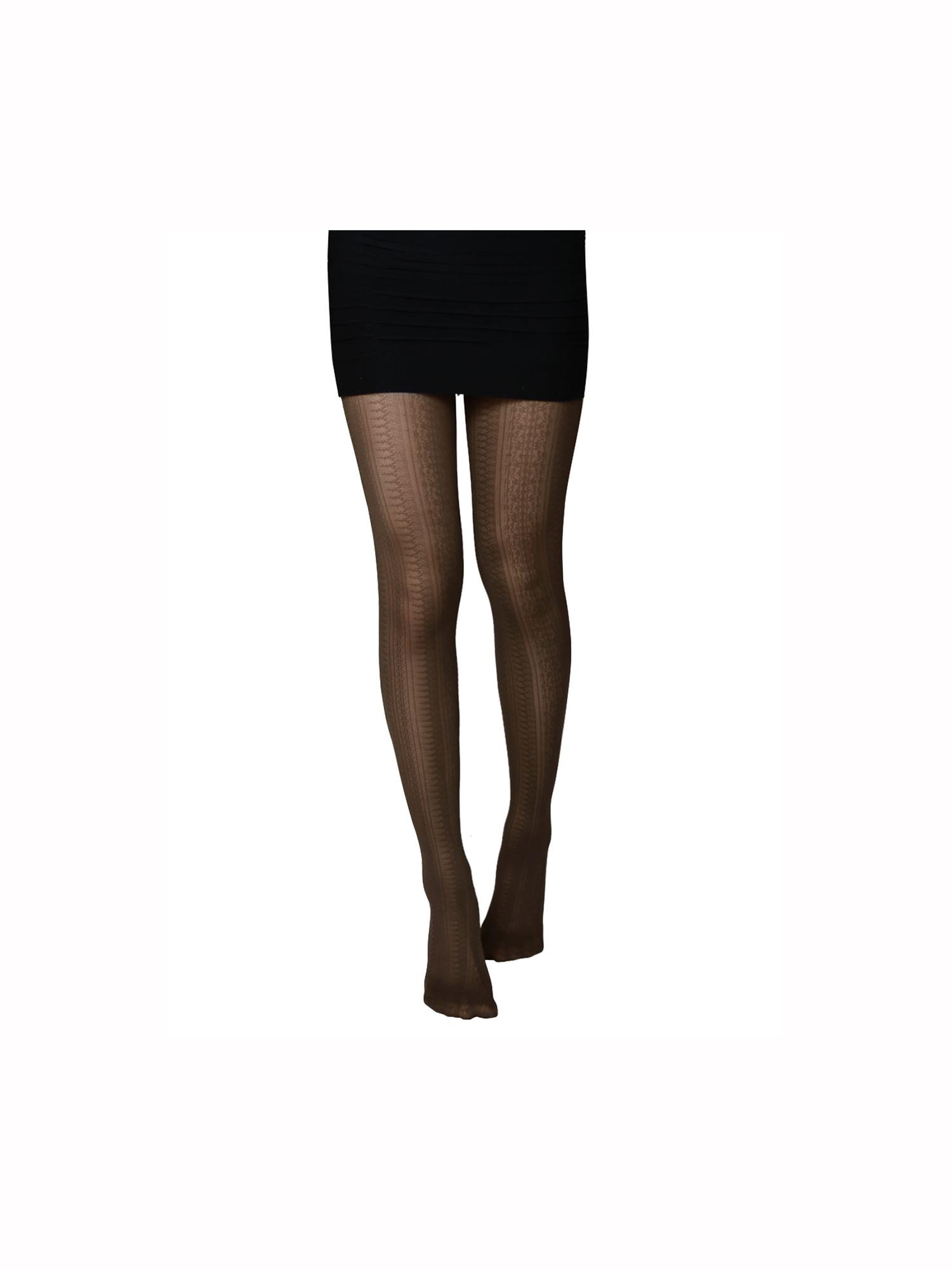 Women Novelty Geometric Pattern Stretchy Thin Pantyhose Brown XS