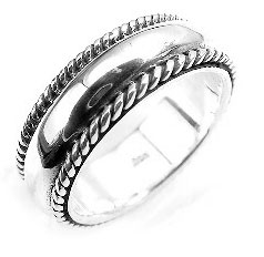 Heavy Sterling Silver Rope Bordered Wedding Band Ring