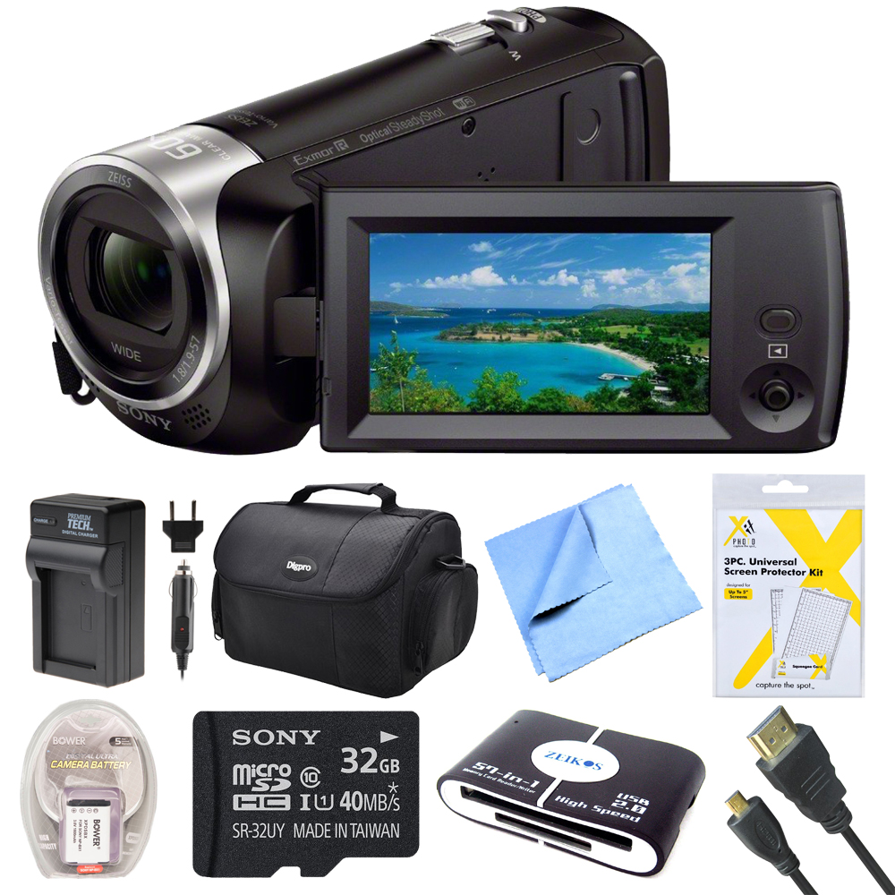 Sony HDRCX440B HDR-CX440B HDR-CX440/B CX440 HD Video Recording Handycam Camcorder Bundle With Deluxe Bag, 32GB Mico SD Card, AC/DC Charger, HDMI Cable, Battery Pack, and More