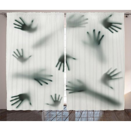 Horror House Decor Curtains 2 Panels Set, Frightening Hands Arms Ghost Shadow Alien Spirit Touch Mist Strangers Artwork, Window Drapes for Living Room Bedroom, 108W X 84L Inches, Grey, by Ambesonne