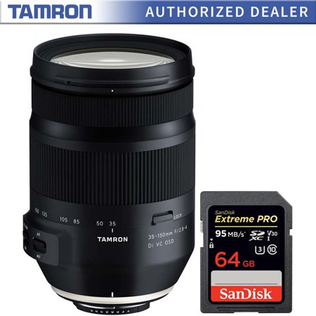 Tamron 35-150mm F/2.8-4 Di VC OSD Full Frame Zoom Lens for Nikon F Mount (AFA043N-700) with Sandisk Extreme PRO SDXC 64GB UHS-1 Memory