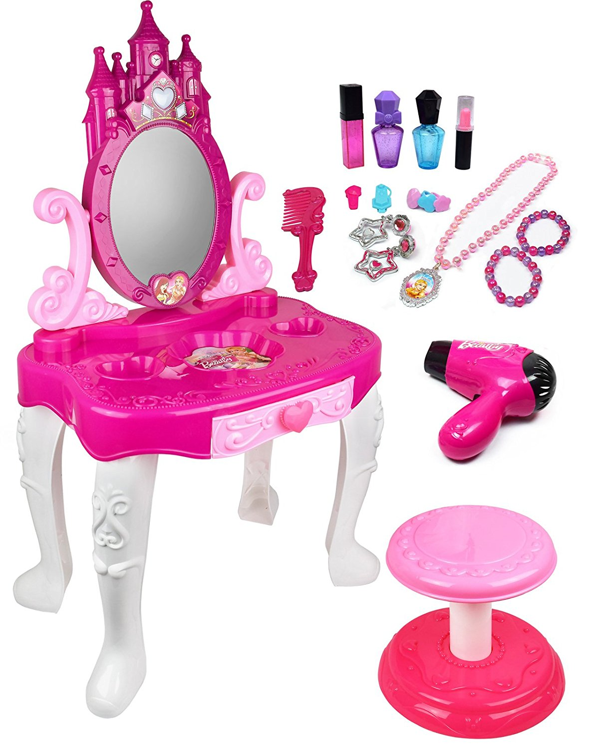 Kiddie Play Pretend Play Kids Vanity Table And Chair