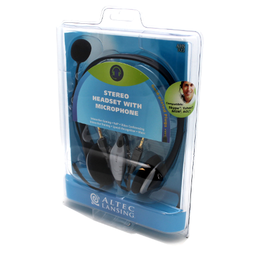Altec Lansing AHS322 Over The Head Stereo Headset W/ Noise Canceling Mic For PC