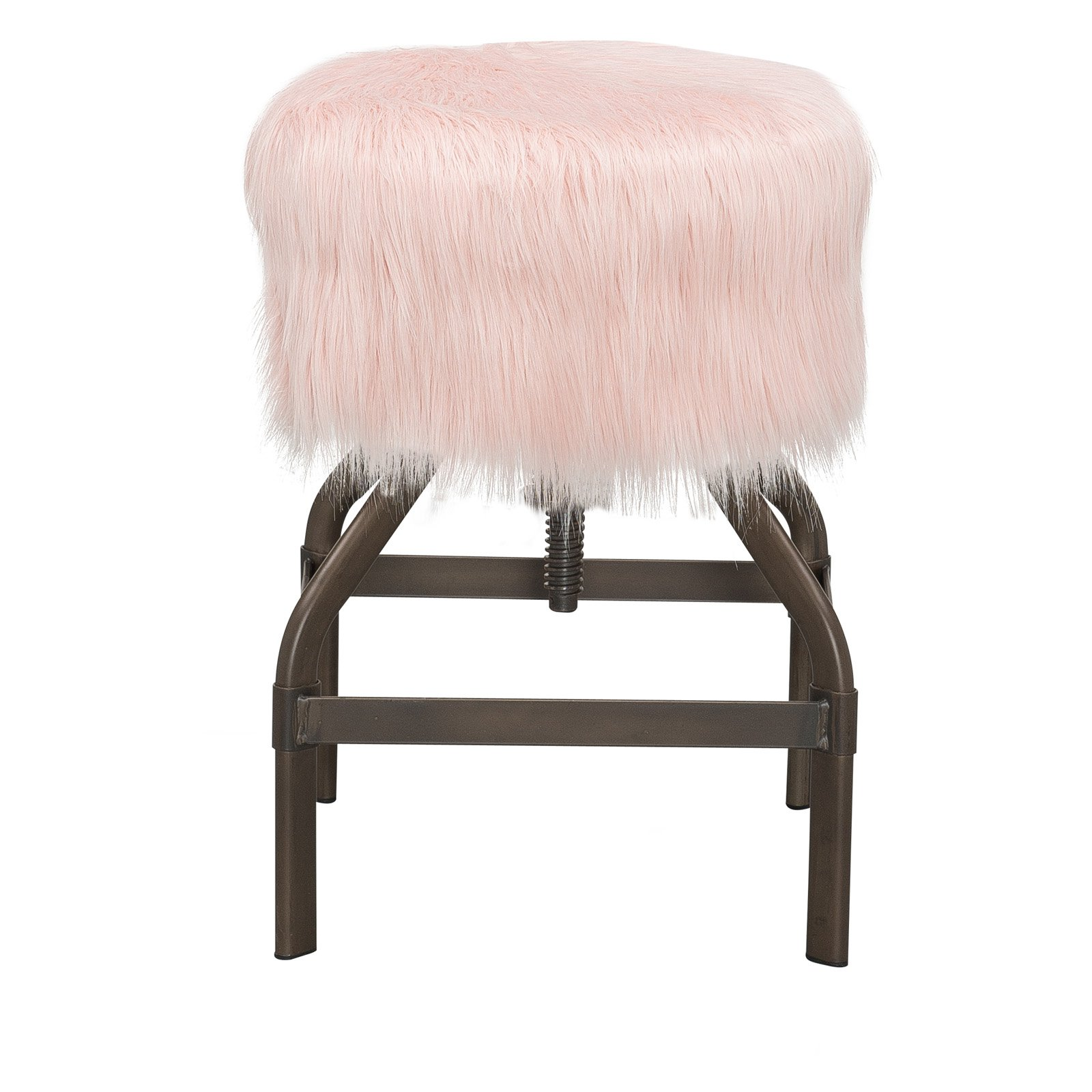 Adjustable Screw Top Stool, Metal With Faux Pink Fur
