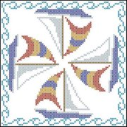 Herrschners  Come Sail Away Quilt Blocks Stamped Cross-Stitch