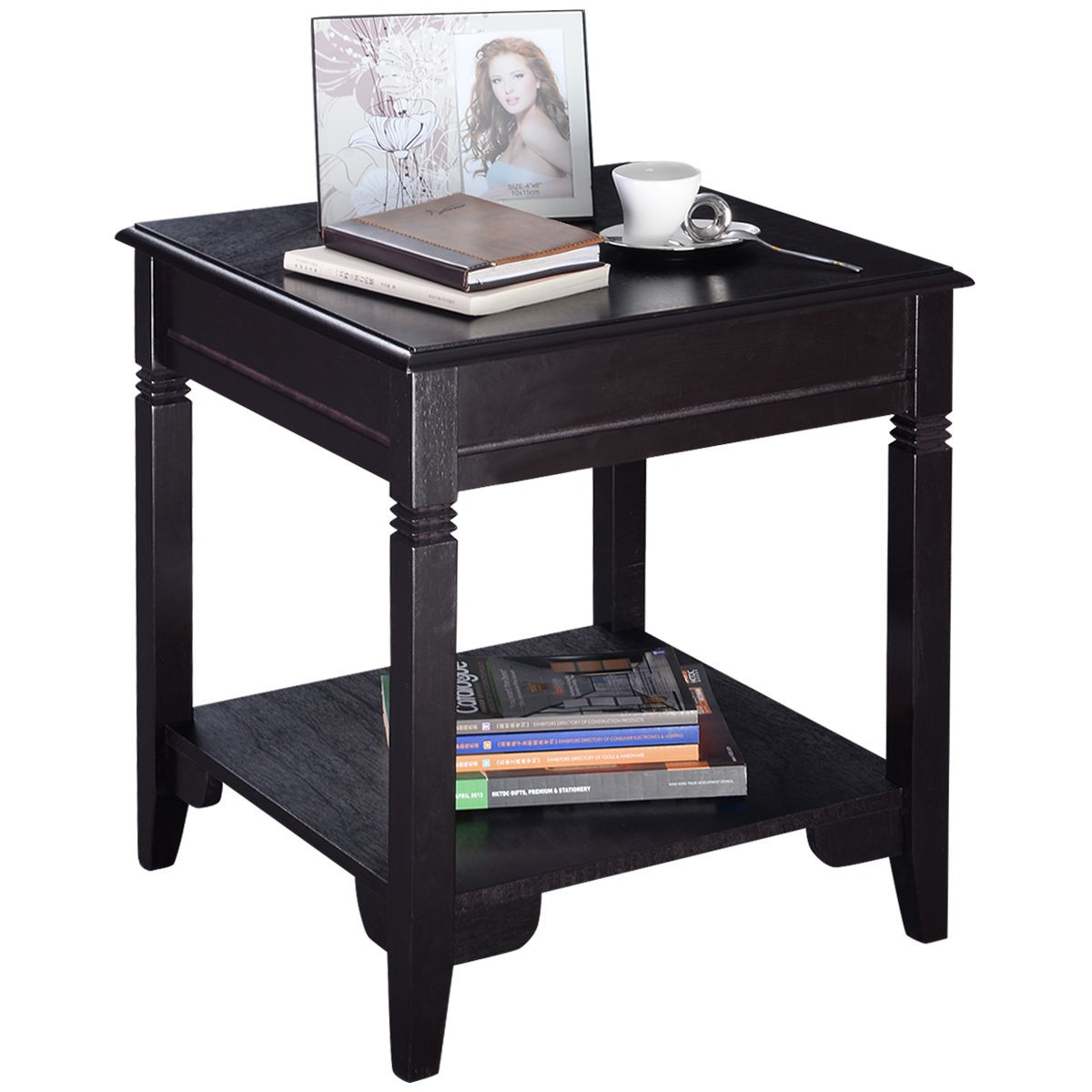 "22"" Wood Accent End Side Table Night Stand"