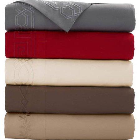 Mainstays Luxury Embroidered Sheet Set, Grey