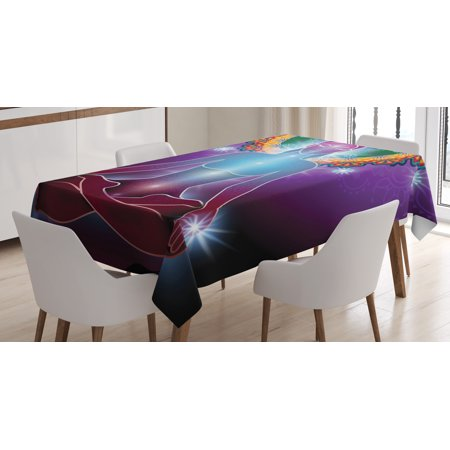 Yoga Tablecloth  Inner Peace Kundalini Yantra Mystical Eastern Energy Guru Esoteric Awareness Asana  Rectangular Table Cover For Dining Room Kitchen  60 X 84 Inches  Multicolor  By Ambesonne
