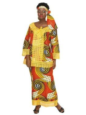 African Planet Women's 3 PC Wrap Around Skirt Set Top Headwrap Nigerian Lace Hem