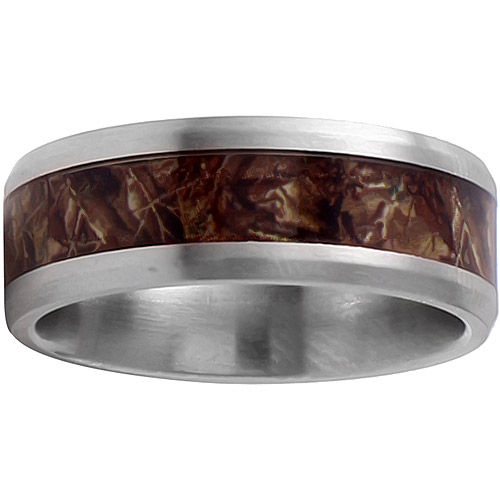 Men's Stainless Steel Camouflage Inlay Ring, 8mm