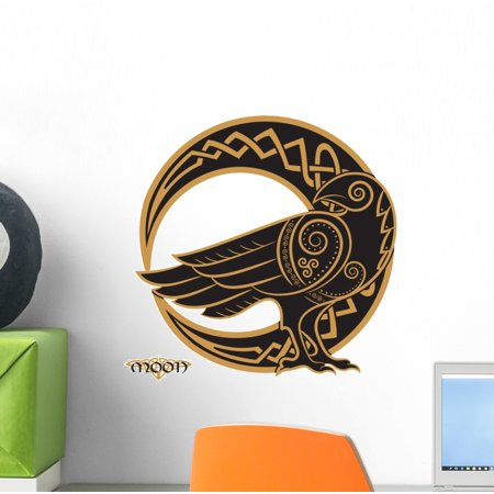Crescent Decal - Celtic Raven Crescent Moon Wall Decal Wallmonkeys Peel and Stick Graphic (12 in H x 12 in W) WM502710