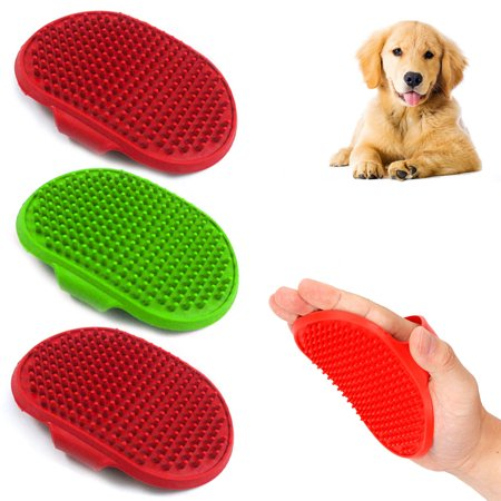 3X Pet Grooming Brush Palm Adjustable Dog Cat Shower Soft Rubber Comb Hair