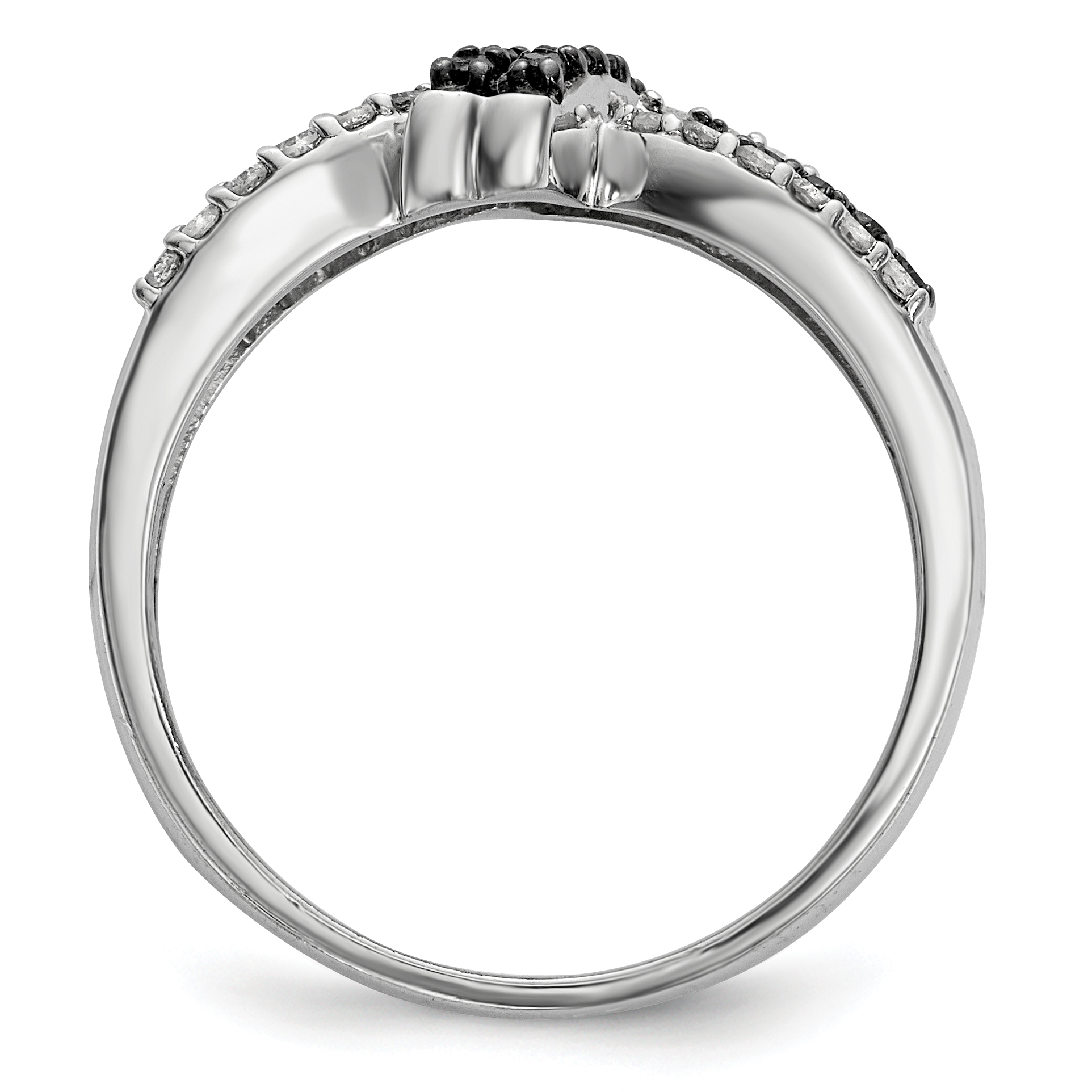 925 Sterling Silver Black White Diamond Band Ring Size 6.00 Fine Jewelry Gifts For Women For Her - image 1 de 6