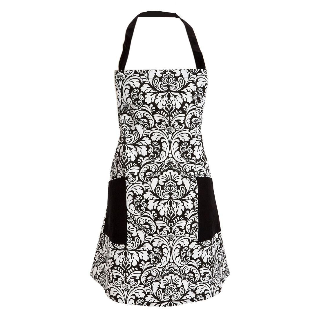Women Kitchen Restaurant Bib Cooking Pocket Apron Dress Black