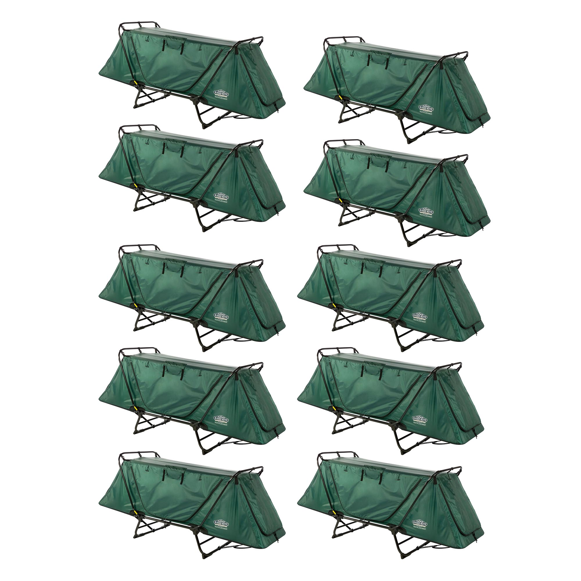 Kamp-Rite Original Tent Cot Folding 1 Person Camping & Hiking Bed (10 Pack)