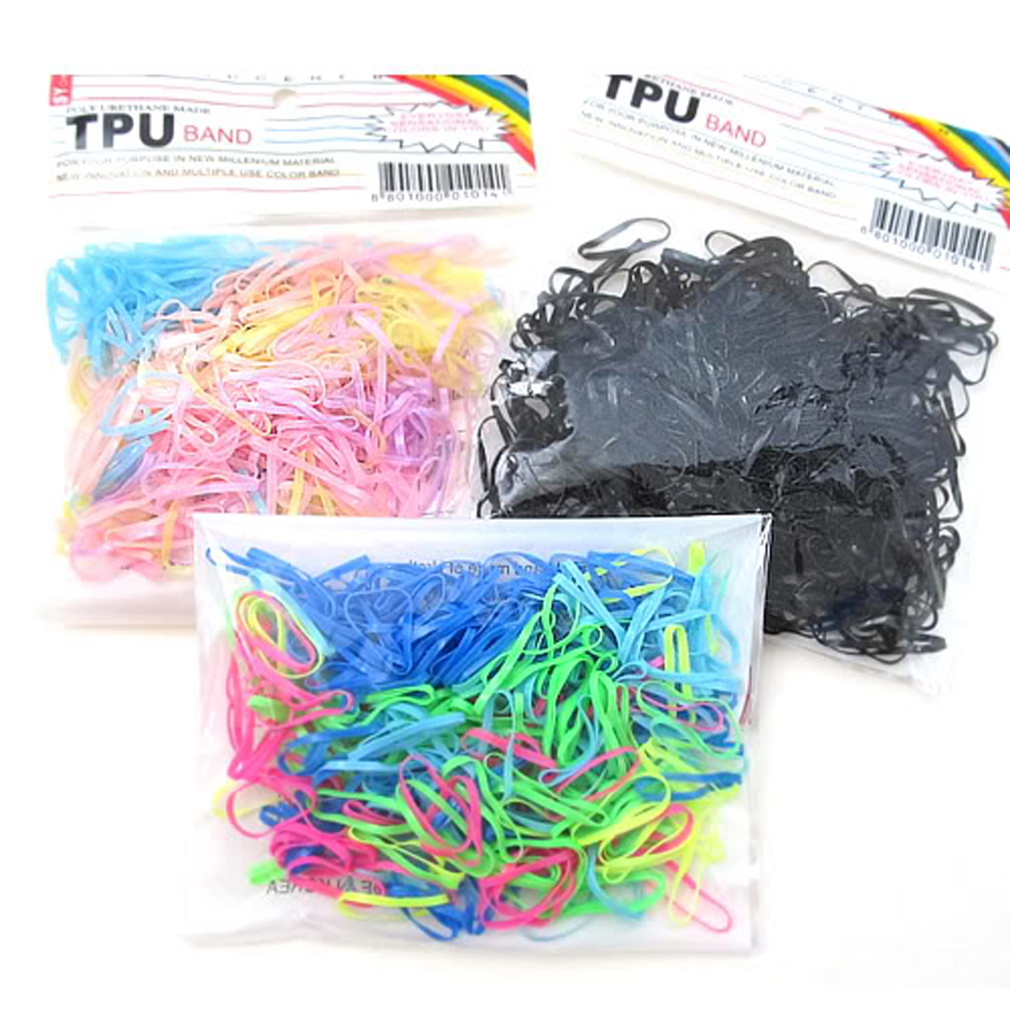 black 300pcs Rubber Hairband Rope Ponytail Holder Elastic Hair Band Ties Plaits