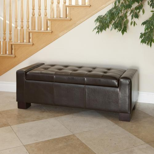 Jefferson Bonded Leather Storage Ottoman Bench, Brown