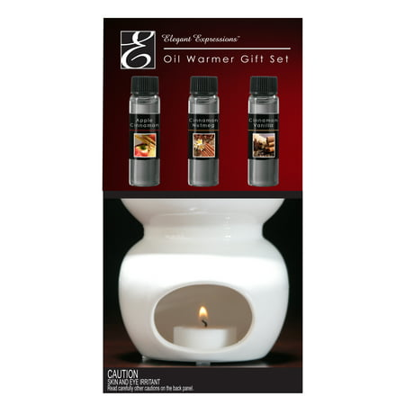 Elegant Expressions by Hosley Ceramic Oil Warmer Gift Set, Apple