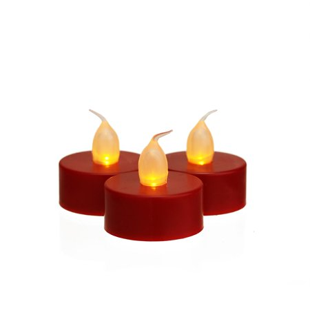 Set of 3 Battery Operated LED Flickering Amber Lighted Red Christmas Tea Light Candles - Battery Operated Tea Candles