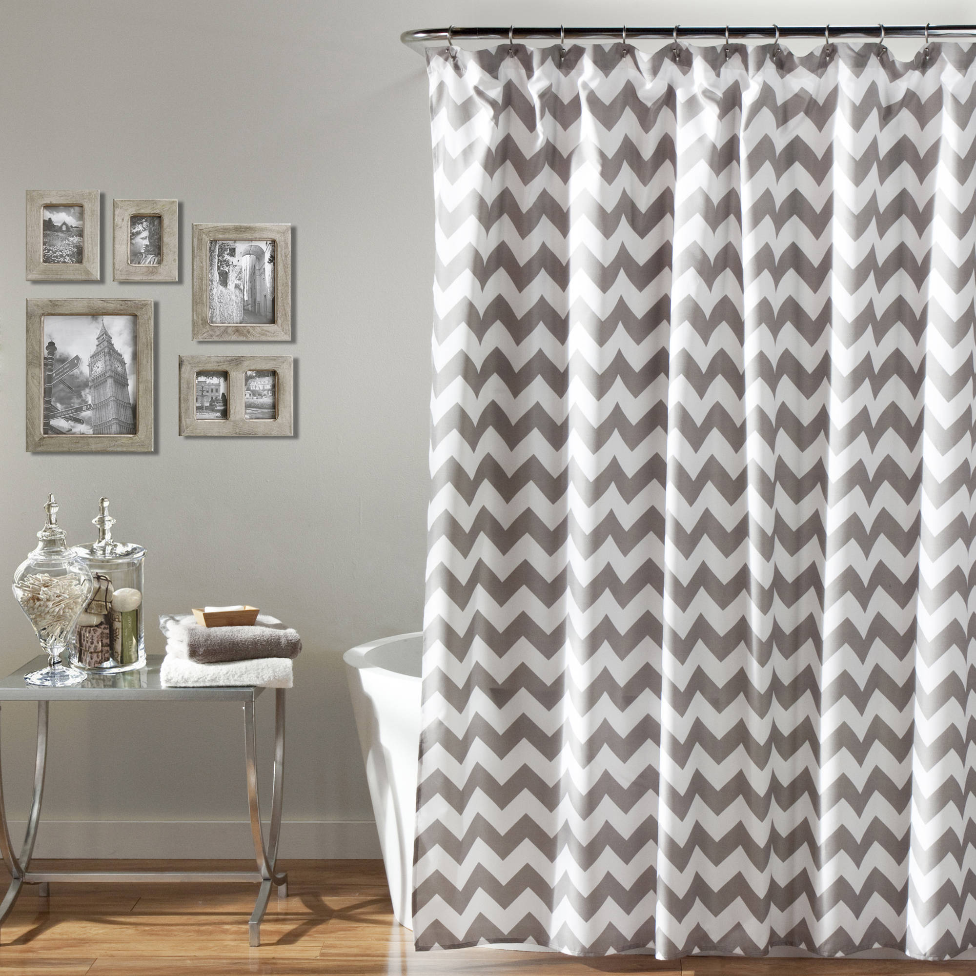 Mainstays Flux Chevron Fabric Shower Curtain